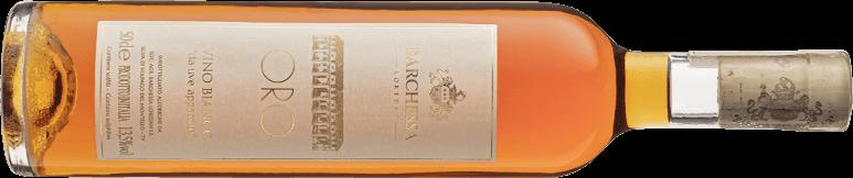 Bottiglia di Oro, vino bianco ottenuto da uve appassite, prodotto in sole 500 bottiglie da Cantina Barchessa Loredan a Volpago del Montello.