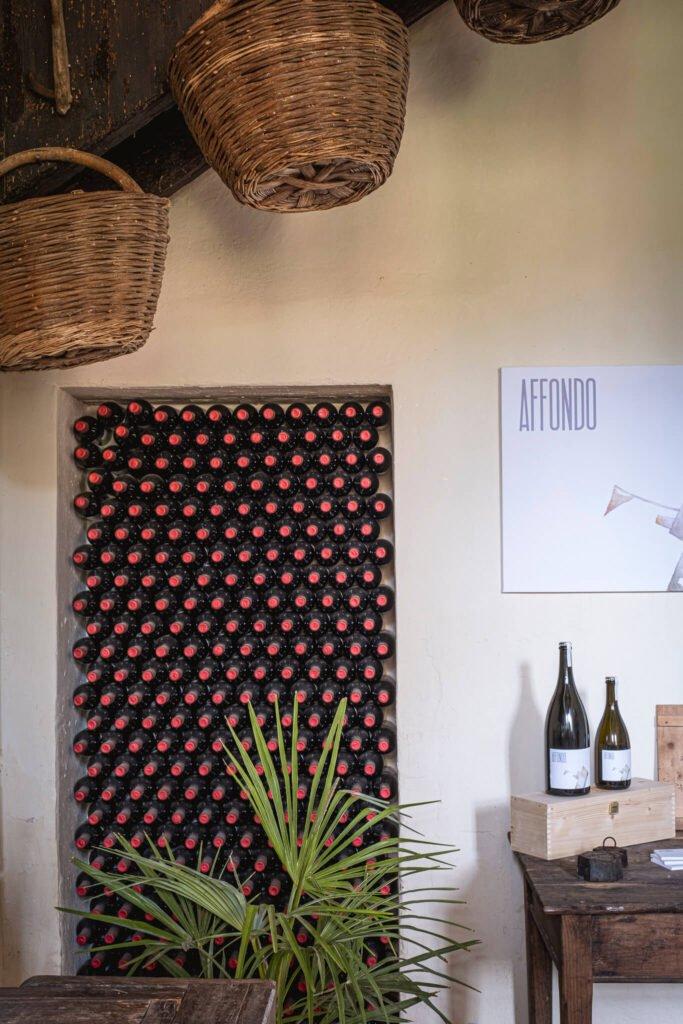 Una delle pareti del nostro negozio, con un'esposizione di vini frizzati e prosecchi, e le ceste di vimini utilizzate per la vendemmia nel '900.